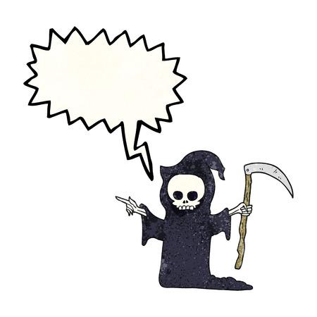 scythe: la burbuja del discurso a mano alzada la muerte textura de dibujos animados con la guadaña Vectores