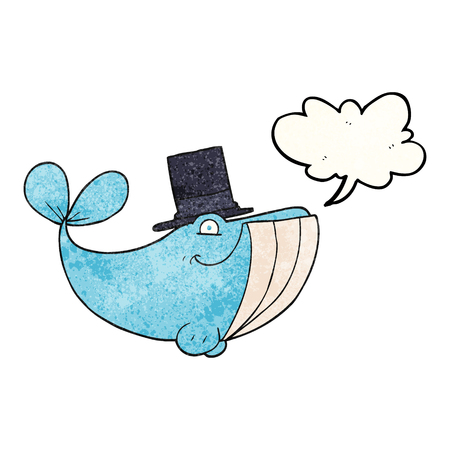 top hat: freehand speech bubble textured cartoon whale wearing top hat Illustration