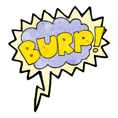 burp: freehand speech bubble textured cartoon burp text