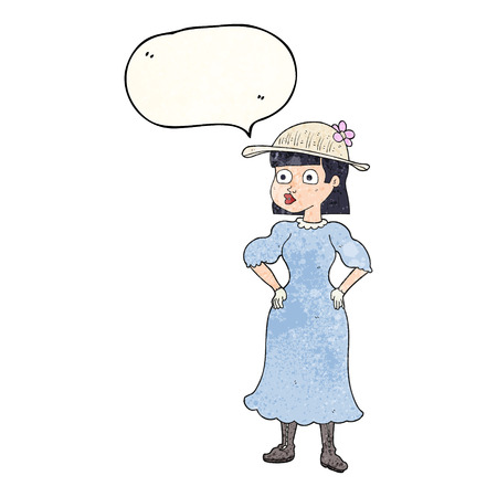 sensible: freehand speech bubble textured cartoon woman in sensible dress Illustration