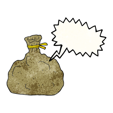 tied: freehand speech bubble textured cartoon tied sack