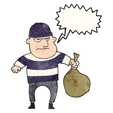 freehand speech bubble textured cartoon burglar with loot bag