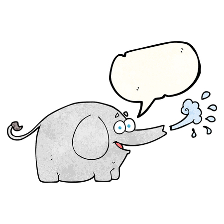 bubble water: freehand speech bubble textured cartoon elephant squirting water
