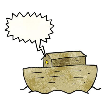 ark: freehand speech bubble textured cartoon noahs ark Illustration