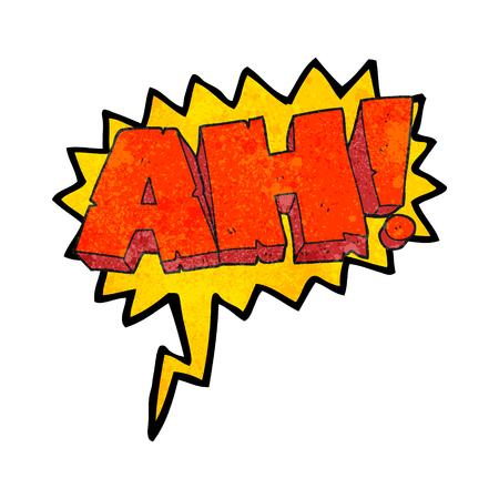 ah: freehand speech bubble textured cartoon AH! shout