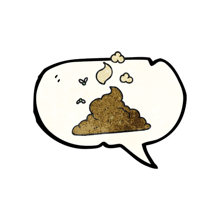 steaming: freehand speech bubble textured cartoon steaming pile of poop