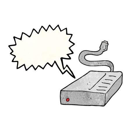 disco duro: la burbuja del discurso a mano alzada disco duro de dibujos animados con textura