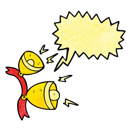 jingle bells: freehand speech bubble textured cartoon jingle bells
