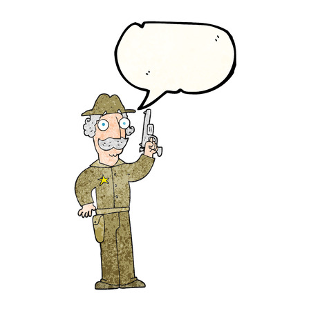 gunfighter: freehand speech bubble textured cartoon sheriff