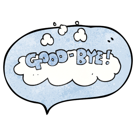 good bye: freehand speech bubble textured cartoon good-bye symbol