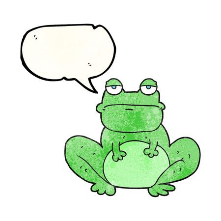 crazy frog: freehand speech bubble textured cartoon frog