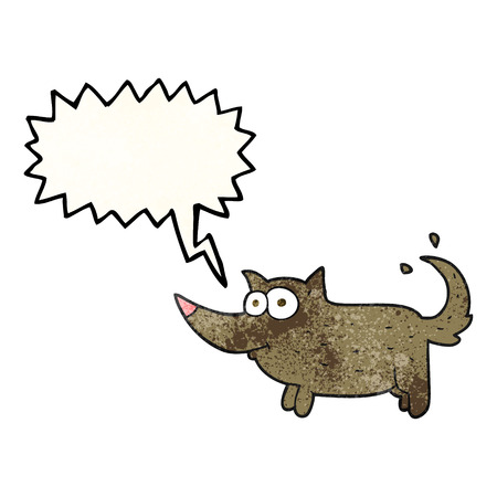 tail: freehand speech bubble textured cartoon dog wagging tail Illustration