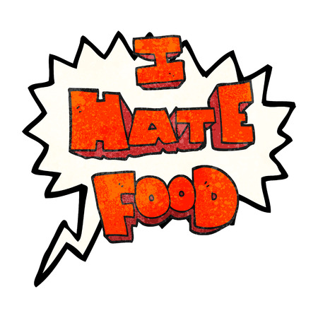 hate: freehand speech bubble textured cartoon i hate food symbol