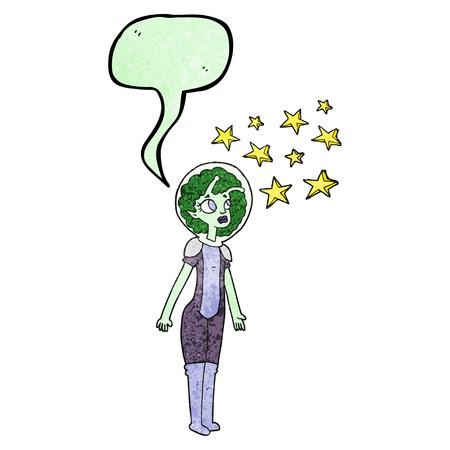 alien women: freehand speech bubble textured cartoon alien space girl