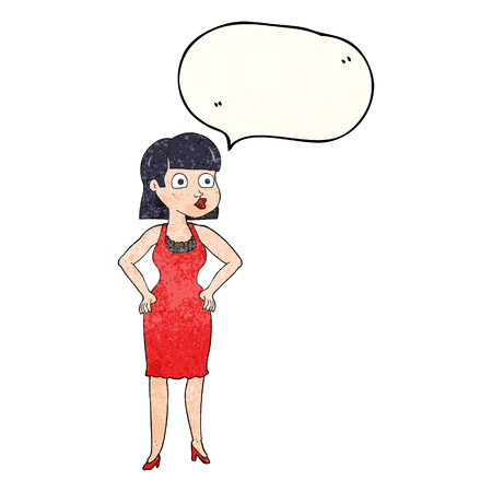 hands on hips: freehand speech bubble textured cartoon woman in dress with hands on hips