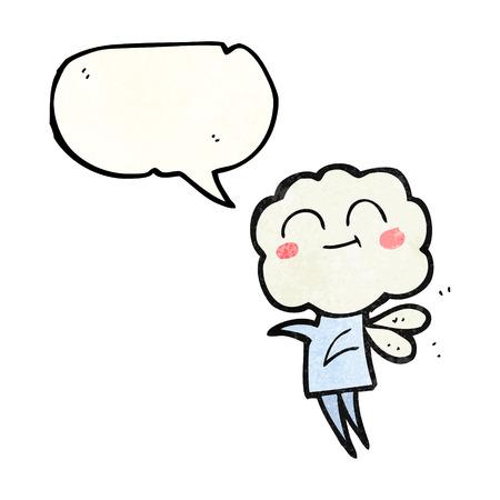 imp: freehand speech bubble textured cartoon cute cloud head imp Illustration