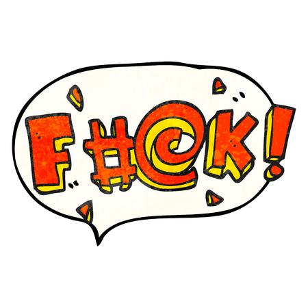 obscenity: freehand speech bubble textured cartoon swearword Illustration