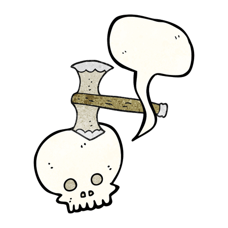 cartoon axe: freehand speech bubble textured cartoon axe in skull Illustration