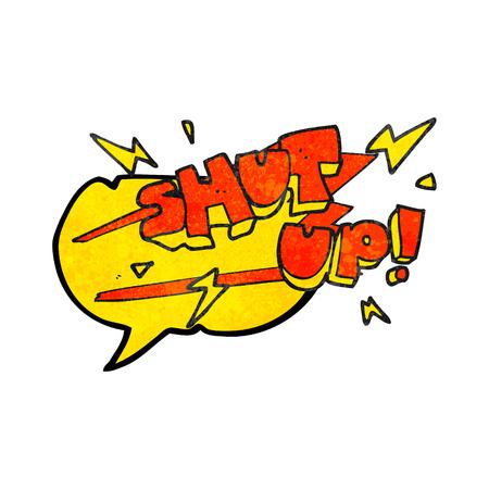 shut up: freehand speech bubble textured cartoon shut up! symbol