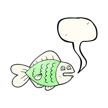 funny fish: freehand speech bubble textured cartoon funny fish