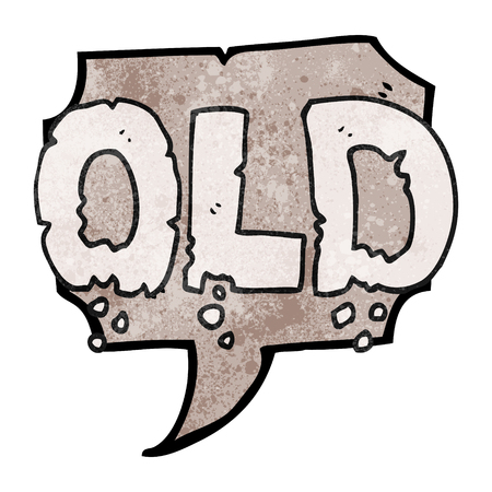 crumbling: freehand speech bubble textured cartoon word old Illustration