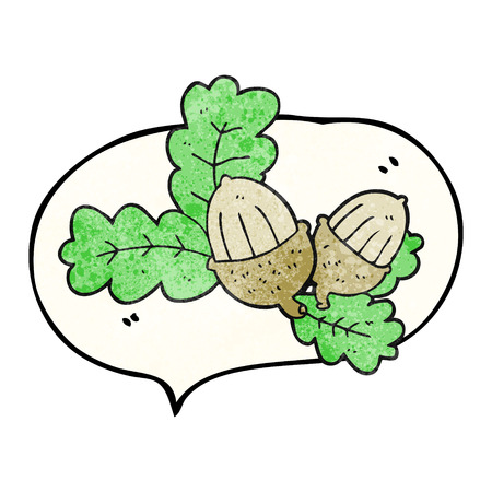 acorns: freehand speech bubble textured cartoon acorns and leaves Illustration
