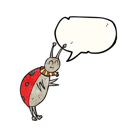 ladybug: freehand speech bubble textured cartoon ladybug