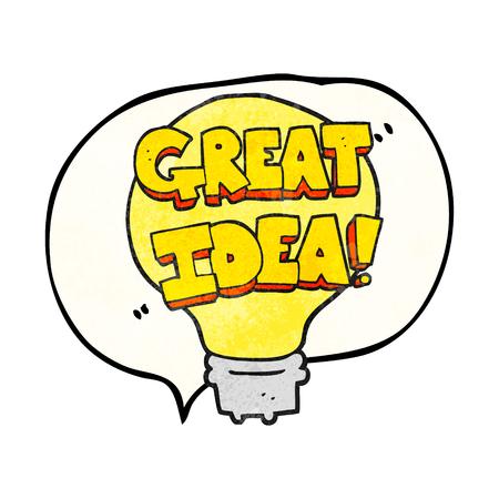 great idea: freehand speech bubble textured cartoon great idea light bulb symbol
