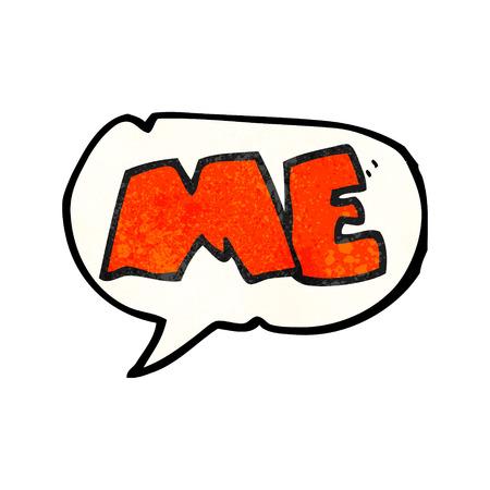 me: freehand speech bubble textured cartoon ME symbol Illustration
