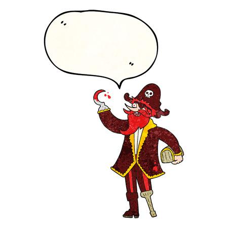 pirate captain: freehand speech bubble textured cartoon pirate captain
