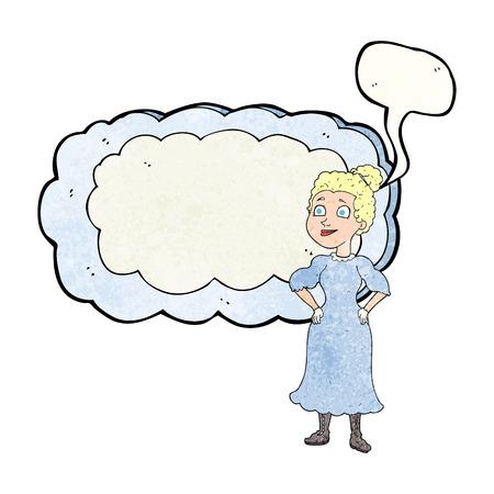 victorian woman: freehand speech bubble textured cartoon victorian woman in dress Illustration