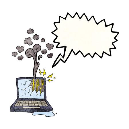 broken computer: freehand speech bubble textured cartoon broken computer