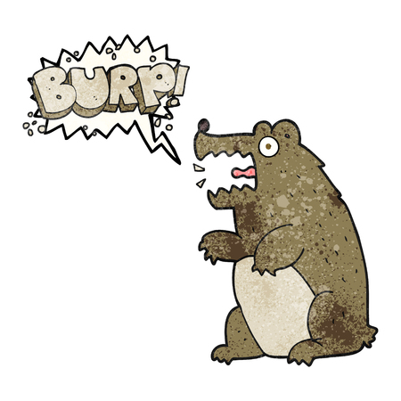 burping: freehand speech bubble textured cartoon bear