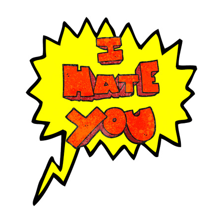 hate: I hate you freehand speech bubble textured cartoon symbol Illustration