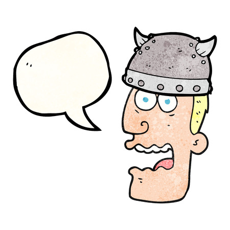 gasp: freehand speech bubble textured cartoon screaming warrior man Illustration