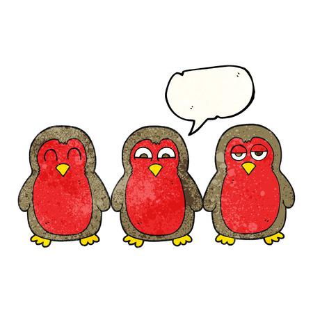 robins: freehand speech bubble textured cartoon christmas robins holding hands