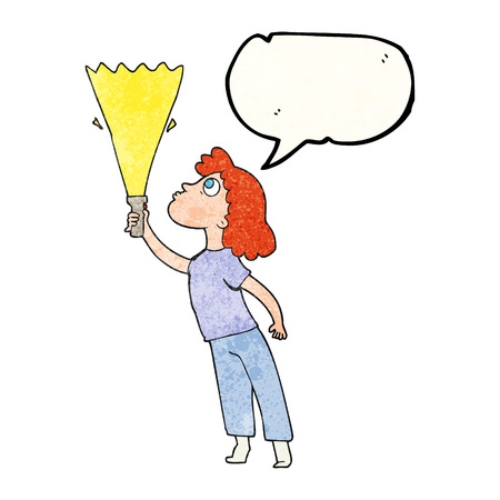 woman searching: freehand speech bubble textured cartoon woman searching with torch Illustration