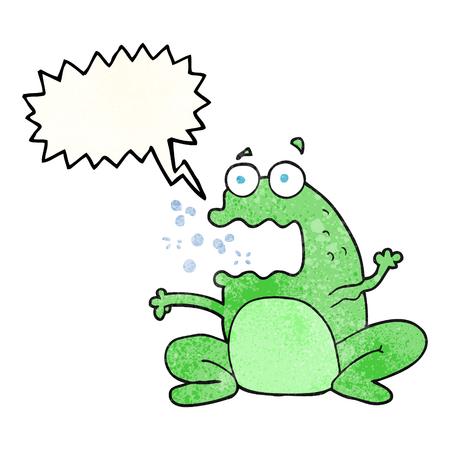 burping: freehand speech bubble textured cartoon burping frog