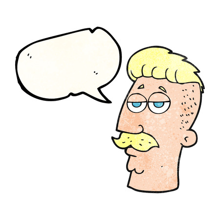 hair cut: freehand speech bubble textured cartoon man with hipster hair cut