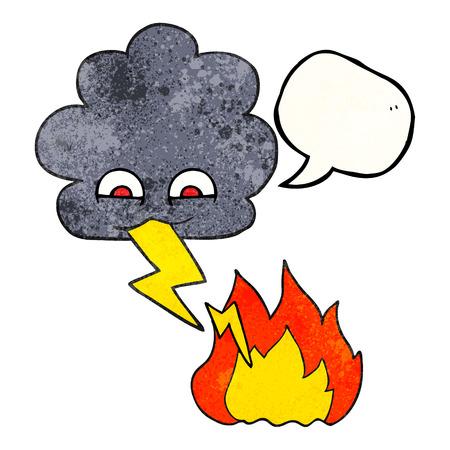 lightning strike: freehand speech bubble textured cartoon thundercloud lightning strike