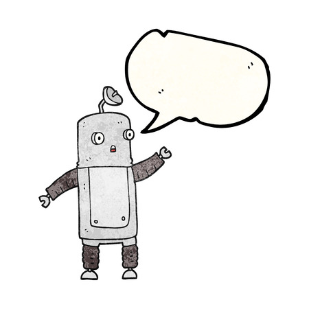 talking robot: freehand speech bubble textured cartoon robot