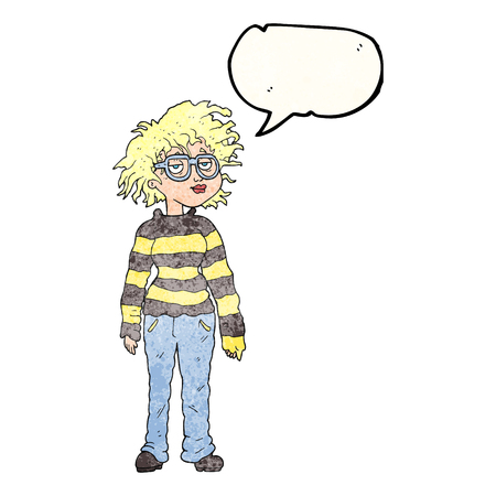 geeky: freehand speech bubble textured cartoon geeky girl