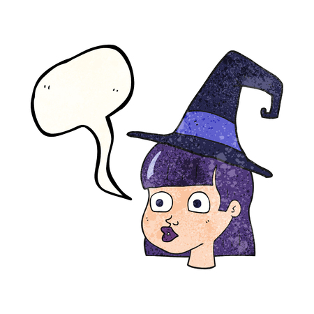 eyed: freehand speech bubble textured cartoon witch Illustration