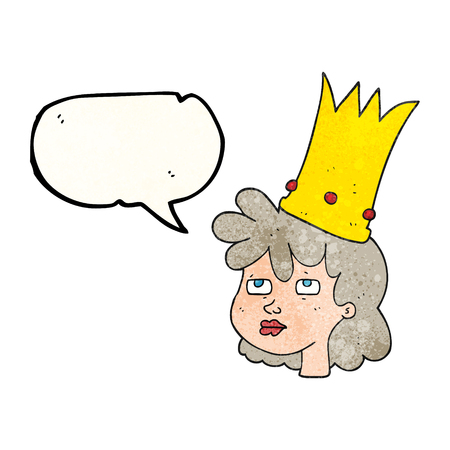 sleepy woman: freehand speech bubble textured cartoon queen with crown Illustration