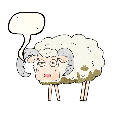 freehand speech bubble textured cartoon ram covered in mud