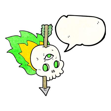 third eye: freehand speech bubble textured cartoon magic skull with arrow through brain