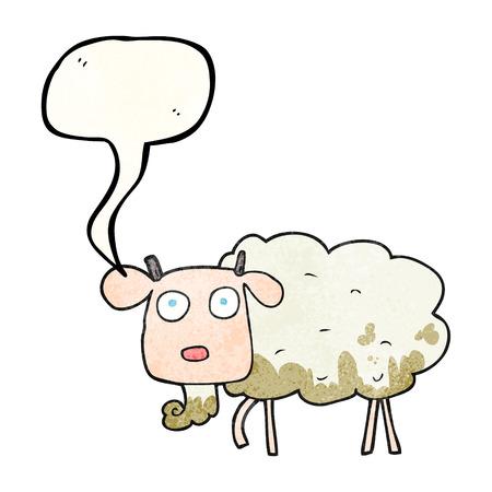 muddy: freehand speech bubble textured cartoon muddy goat Illustration