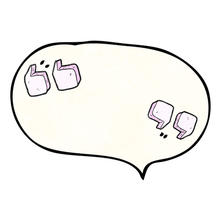 quotation marks: freehand speech bubble textured cartoon quotation marks