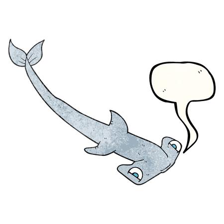 pez martillo: la burbuja del discurso a mano alzada de dibujos animados con textura tibur�n martillo Vectores