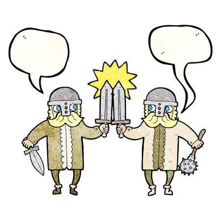 warriors: freehand speech bubble textured cartoon viking warriors